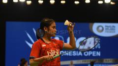 Indosport - Gregoria Mariska di babak pertama Indonesia Open 2017.