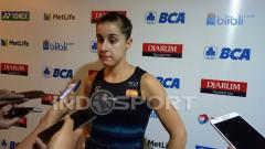 Indosport - Carolina Marin usai pertandingan di Indonesia Open 2017.