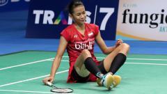 Indosport - Dinar Dyah Ayustine di babak pertama Indonesia Open 2017.