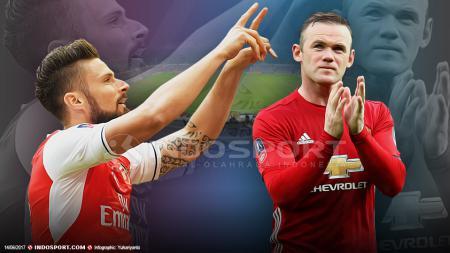 Olivier Giroud dan Wayne Rooney - INDOSPORT