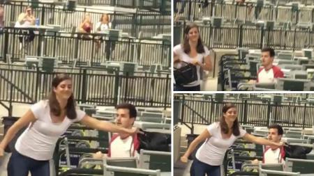Seoran wanita menolak lamaran kekasihnya saat menyaksikan pertandingan baseball. - INDOSPORT