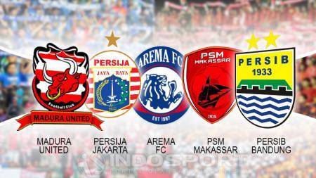 Logo Madura United, Persija Jakarta, Arema FC, PSM Makassar dan Persib Bandung sebagai klub papan atas Liga 1. - INDOSPORT