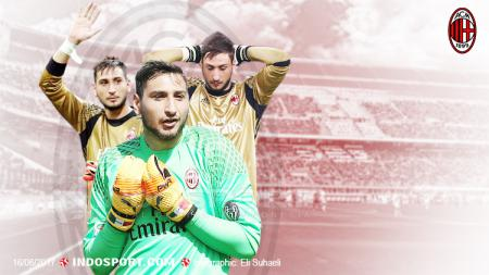 Tak laku karena permintaan gaji terlalu tinggi, Mino Raiola mengobral bintang gratisan AC Milan, Gianluigi Donnarumma, ke Juventus dan Barcelona. - INDOSPORT