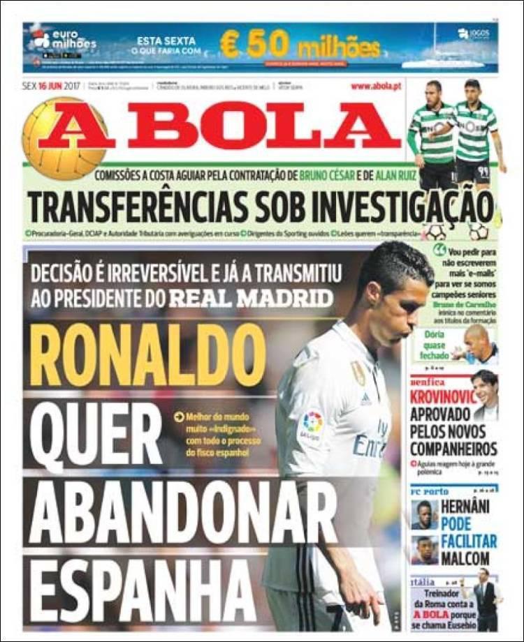 Media A Bola memberitakan Cristiano Ronaldo akan meninggalkan Real Madrid. Copyright: The Sun