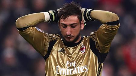 Ekspresi kiper AC Milan, Gianluigi Donnarumma. - INDOSPORT