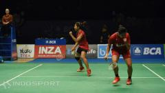 Indosport - Anggia Shitta Awanda/Ni Ketut Mahadewi Istarani saat tampi di semifinal Indonesia Open 2017