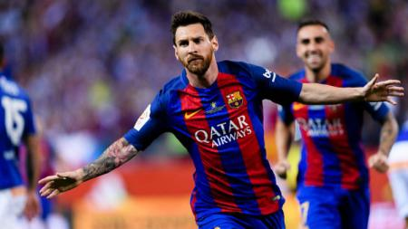 Bintang Barcelona, Lionel Messi melakukan selebrasi di final Copa del Rey. - INDOSPORT