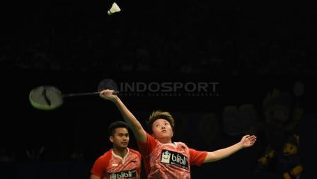 Tontowi Ahmad/Liliyana Natsir setelah berhasil menjadi juara Indonesia Open 2017.