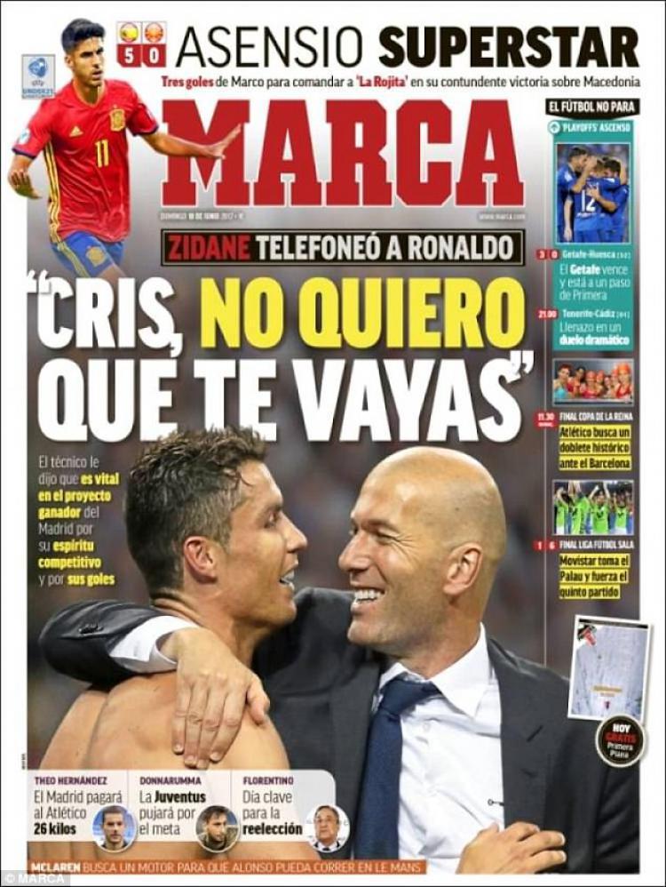 Media Spanyol memberitakan masa depan Cristiano Ronaldo. Copyright: Dailymail