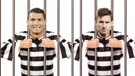 Ilustrasi Cristiano Ronaldo dan Lionel Messi dalam sel. - INDOSPORT