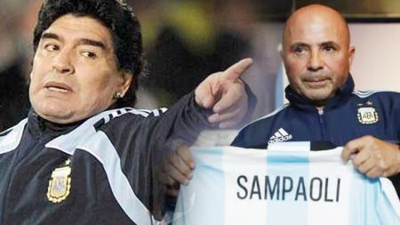 Diego Maradona dan Jorge Sampaoli. - INDOSPORT
