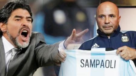 Diego Maradona dan Jorge Sampaoli.