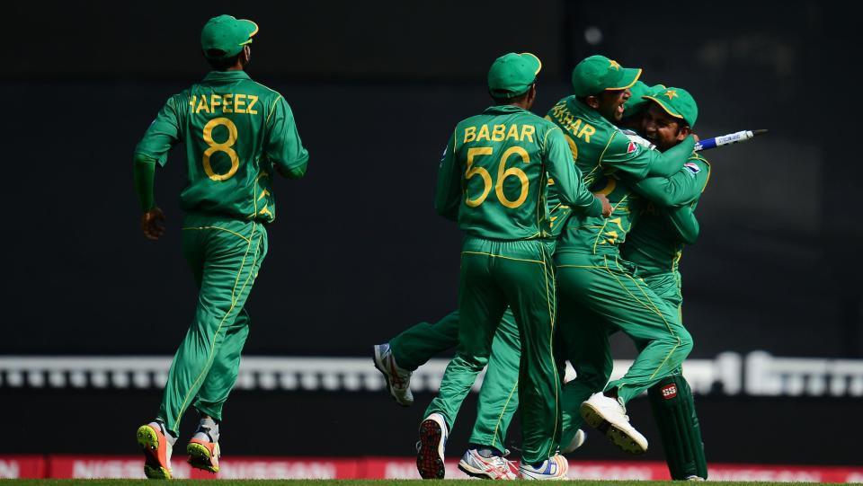 Tim Pakistan merayakan kemenangan Copyright: Indosport.com