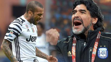 Dani Alves vs Diego Maradona - INDOSPORT