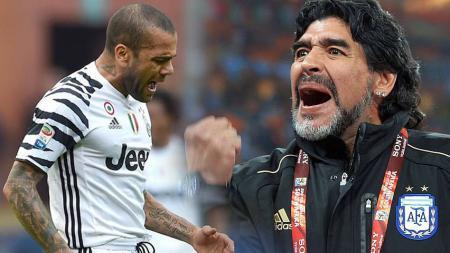 Dani Alves vs Diego Maradona - INDOSPORT
