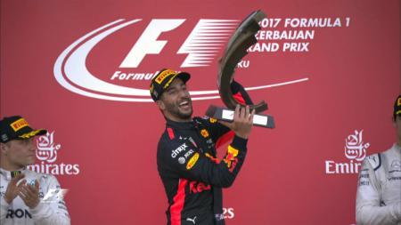 Daniel Ricciardo di podium GP Azerbaijan 2017. - INDOSPORT