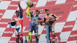 Valentino Rossi, Danilo Petrucci, dan Marc Marquez di podium MotoGP Belanda.