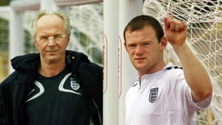 Rooney dan Sven-Goran Eriksson ketika membela Timnas Inggris. - INDOSPORT