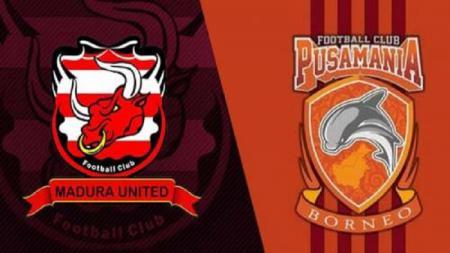 Logo Madura United dan Borneo FC. - INDOSPORT