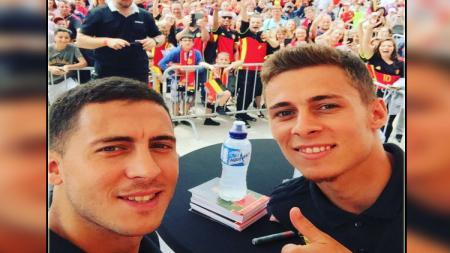 Dua pemain bintang Belgia, Eden Hazard dan Thorgan Hazard. - INDOSPORT