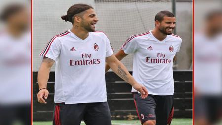 Dua pemain anyar Milan, Ricardo Rodriguez (kiri) dan Mateo Musacchio. - INDOSPORT