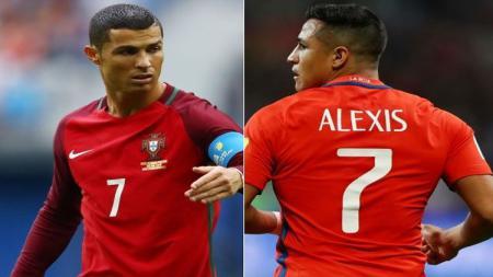 Cristiano Ronaldo vs Alexis Sanchez. - INDOSPORT
