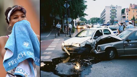 Venus Williams (insert: ilustrasi kecelakaan). - INDOSPORT