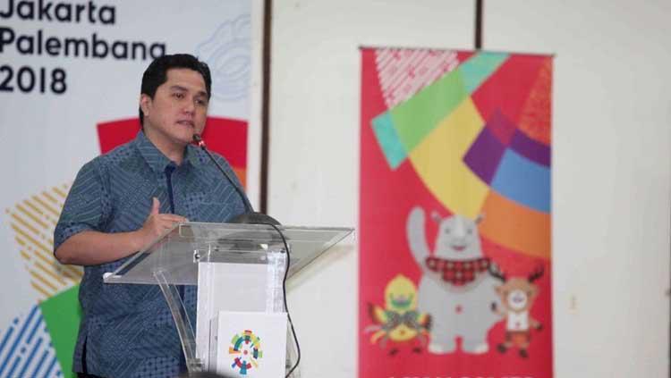 Erick Thohir saat memberikan pidato dalam pembahasan Asian Games 2018. Copyright: Humas INASGOC