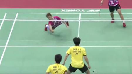 Situasi pertandingan antara Lee Jhe-Huei/Lee Yang vs Chen Hung Ling/Wang Chi-Lin di final Taiwan Open 2017. - INDOSPORT