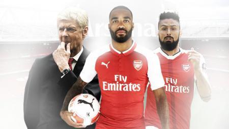 Arsene Wenger , Alexandre Lacazette, dan Olivier Giroud. - INDOSPORT