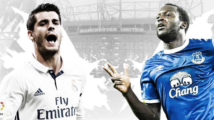 Alvaro Morata vs Romelu Lukaku. Copyright: Grafis: Eli Suhaeli/INDOSPORT