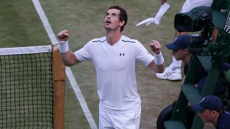 Petenis Inggris Raya, Andy Murray merayakan kemenangan. - INDOSPORT