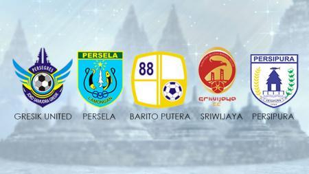 Logo Gresik United, Persala Lamongan, Sriwijaya FC, Barito Putera, dan Persipura Jayapura. - INDOSPORT