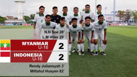 Hasil pertandingan Myanmar U-16 vs Indonesia U-16. - INDOSPORT