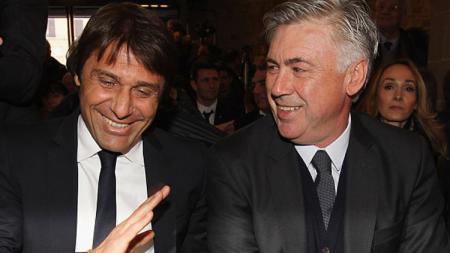 Antonio Conte (kiri/pelatih Chelsea) dan Carlo Ancelotti (Pelatih Bayern Munchen). - INDOSPORT