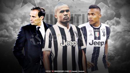 Masimilliano Allegri, Douglas Costa dan Alex Sandro. - INDOSPORT