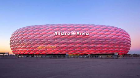Tampilan depan Stadion Allianz Arena, markas Bayern Munchen. - INDOSPORT