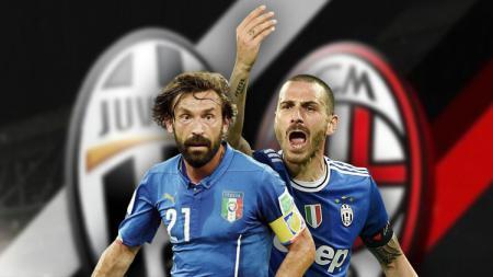 Andrea Pirlo dan Leonardo Bonucci. - INDOSPORT