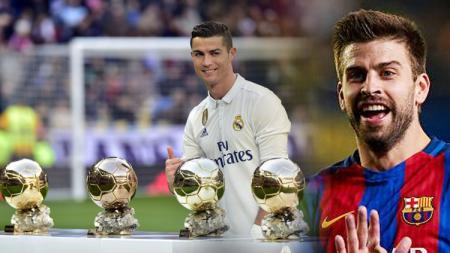 Cristiano Ronaldo dan Gerard Pique. - INDOSPORT