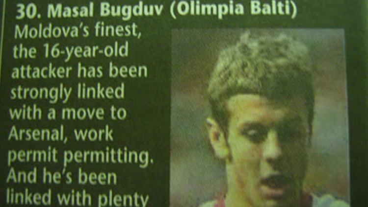 Masal Bugduv, pemain fiktif yang dikaitkan dengan Arsenal. Copyright: RedCafe.net