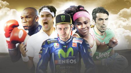 Kiri-kanan: Floyd Mayweather, Roger Federer, Valentino Rossi, Serena Williams, dan Gianluigi Buffon. - INDOSPORT