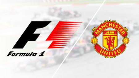Logo Formula 1 dan Manchester United. - INDOSPORT