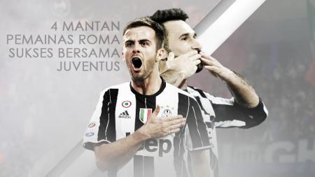 Miralem Pjanic dan Mirko Vucinic, pemain Juventus yang sebelumnya memperkuat AS Roma. - INDOSPORT