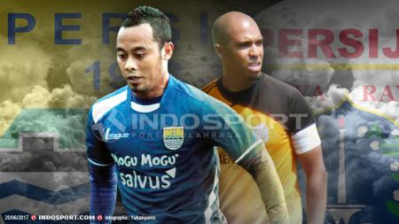 Atep Rizal dan Fabio Lopes merupakan pesepakbola yang pernah memperkuat Persija Jakarta dan Persib Bandung. - INDOSPORT