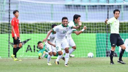 Saddil Ramdani (17) selebrasi gol. - INDOSPORT
