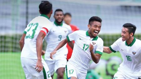 Selebrasi pemain Timnas Indonesia. - INDOSPORT