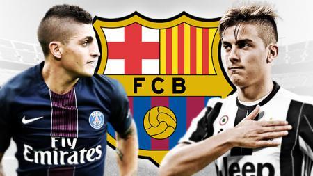 Marco Verratti dan Paulo Dybala, menjadi target Barcelona. - INDOSPORT