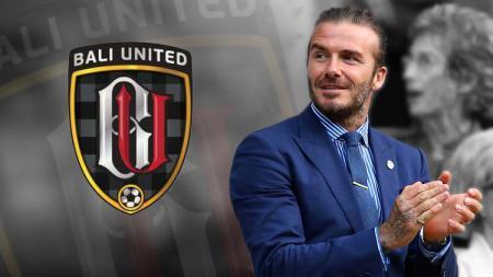 David Beckham dan logo Bali United. - INDOSPORT