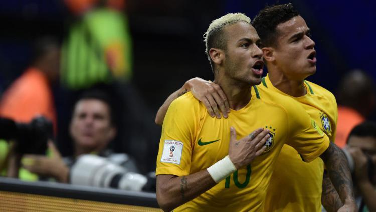 Coutinho dan Neymar kala membela Timnas Brasil. Copyright: Bruno Zanardo/Getty Images