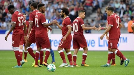 Pemain Liverpool merayakan kemenangan atas Hertha Berlin. - INDOSPORT